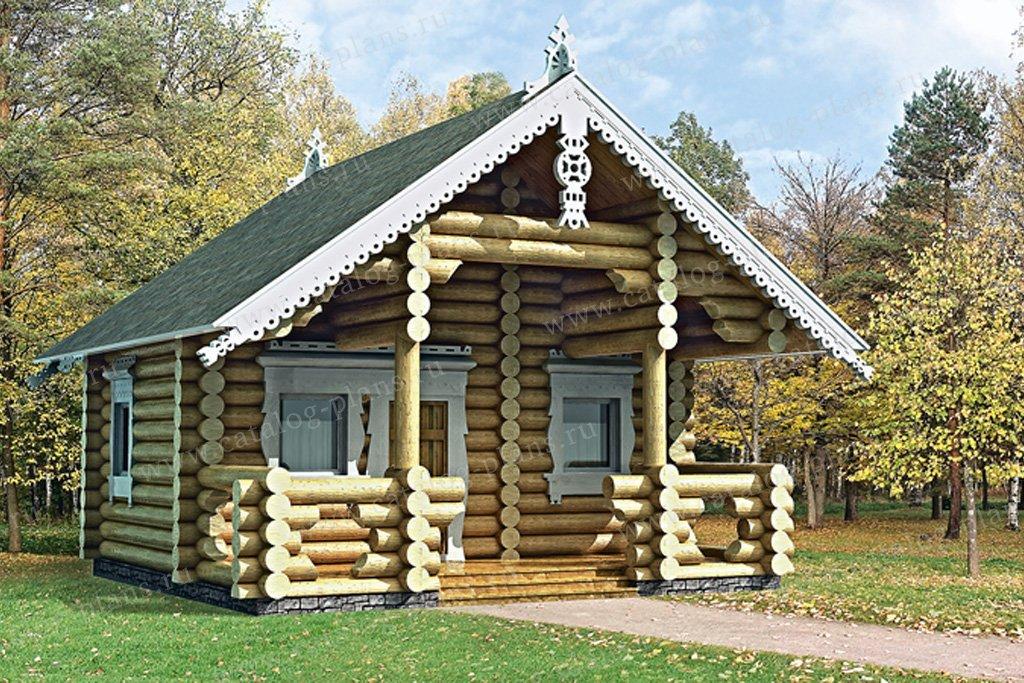 Проект баня #10-64 материал - дерево, стиль Русская усадьба
