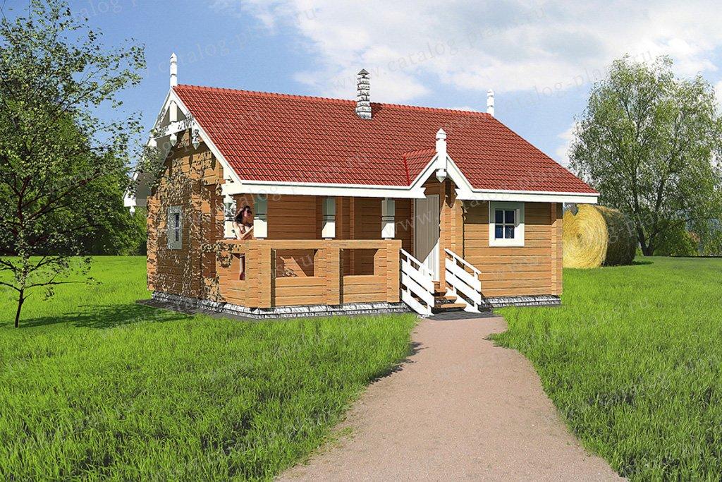 Проект баня #10-39 материал - дерево, стиль Русская усадьба