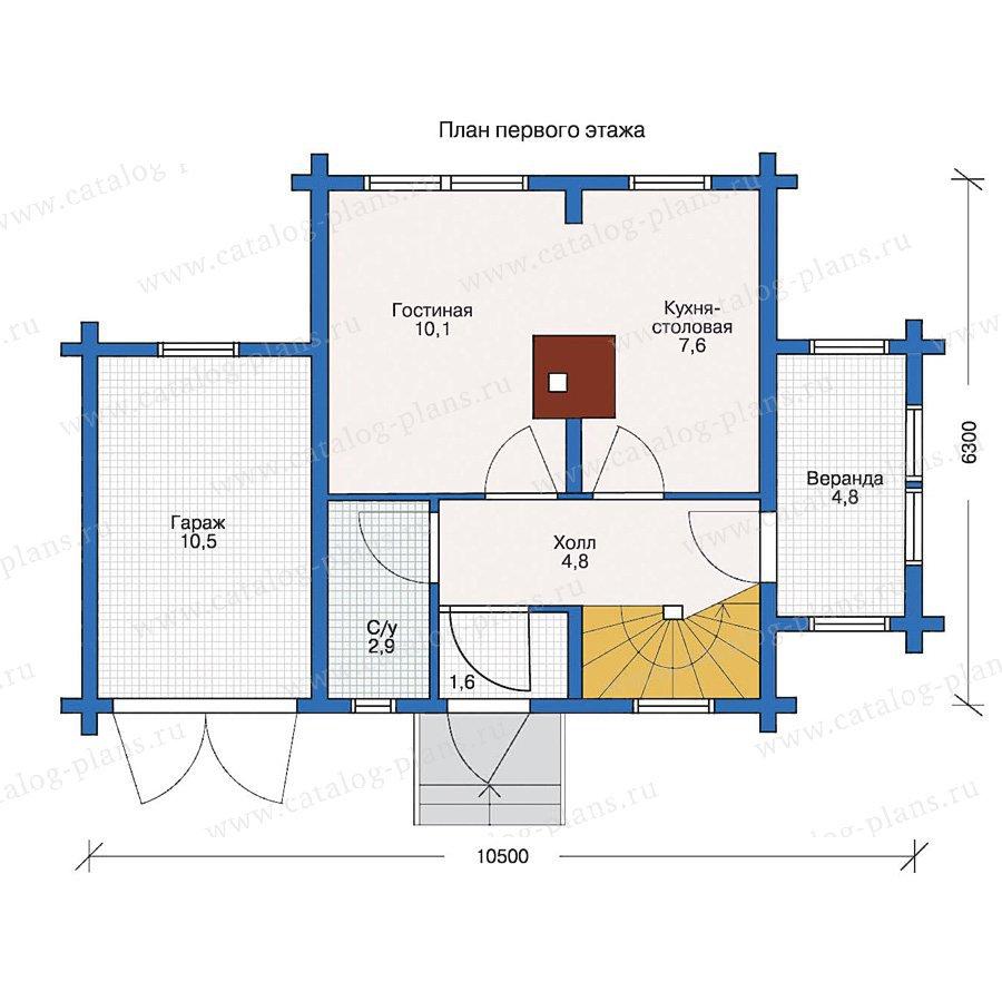 План 1-этажа проекта 10-58
