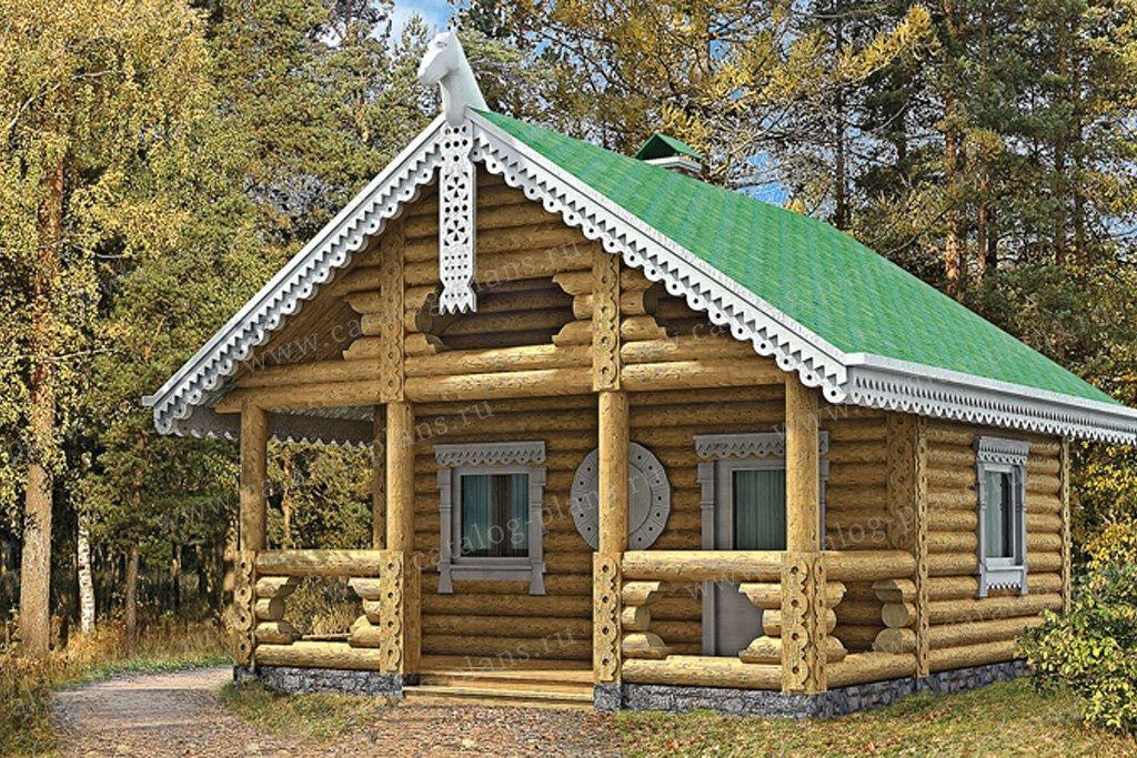 Проект баня #10-60 материал - дерево, стиль Русская усадьба