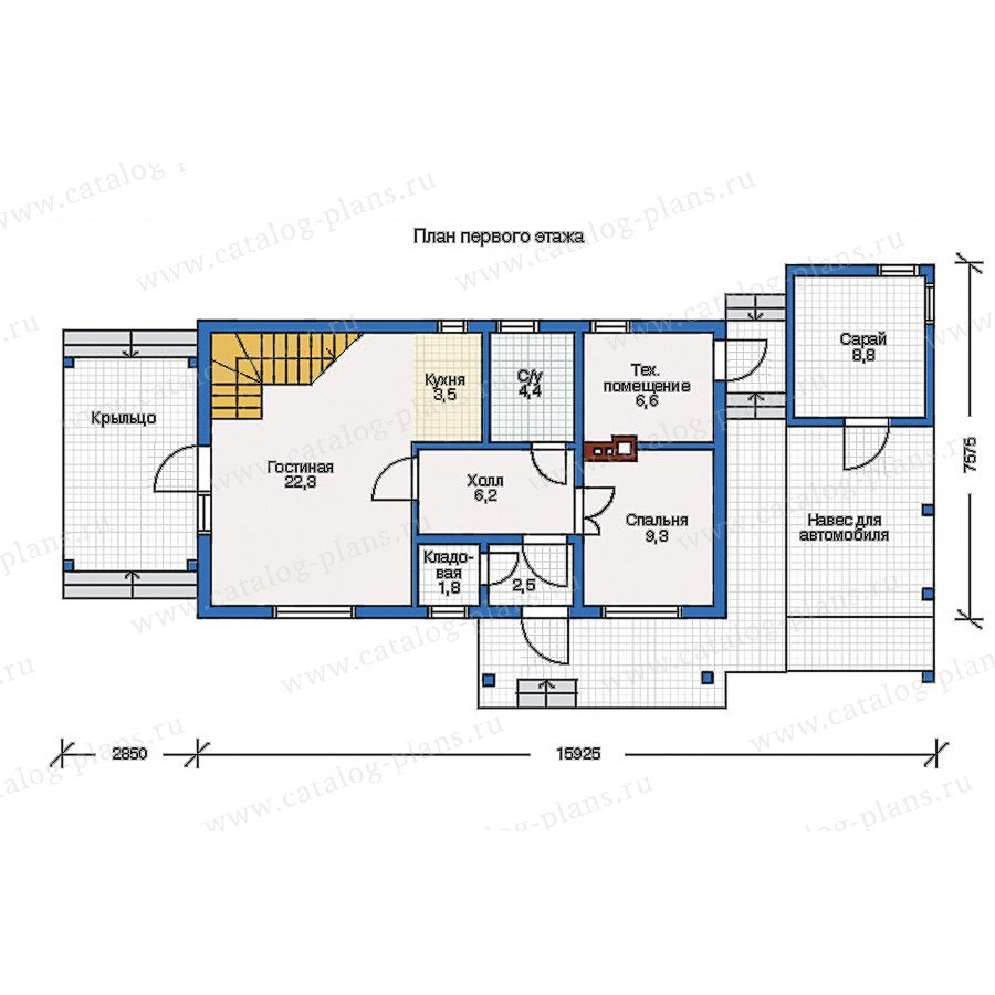 План 1-этажа проекта 10-50
