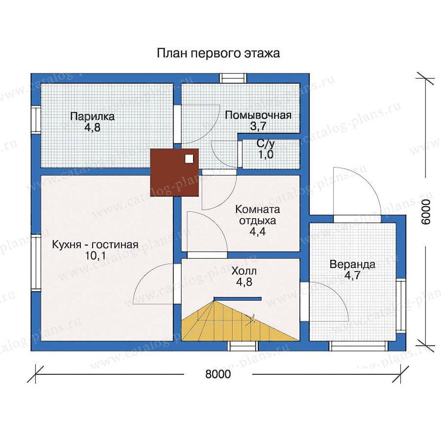 План 1-этажа проекта 10-79