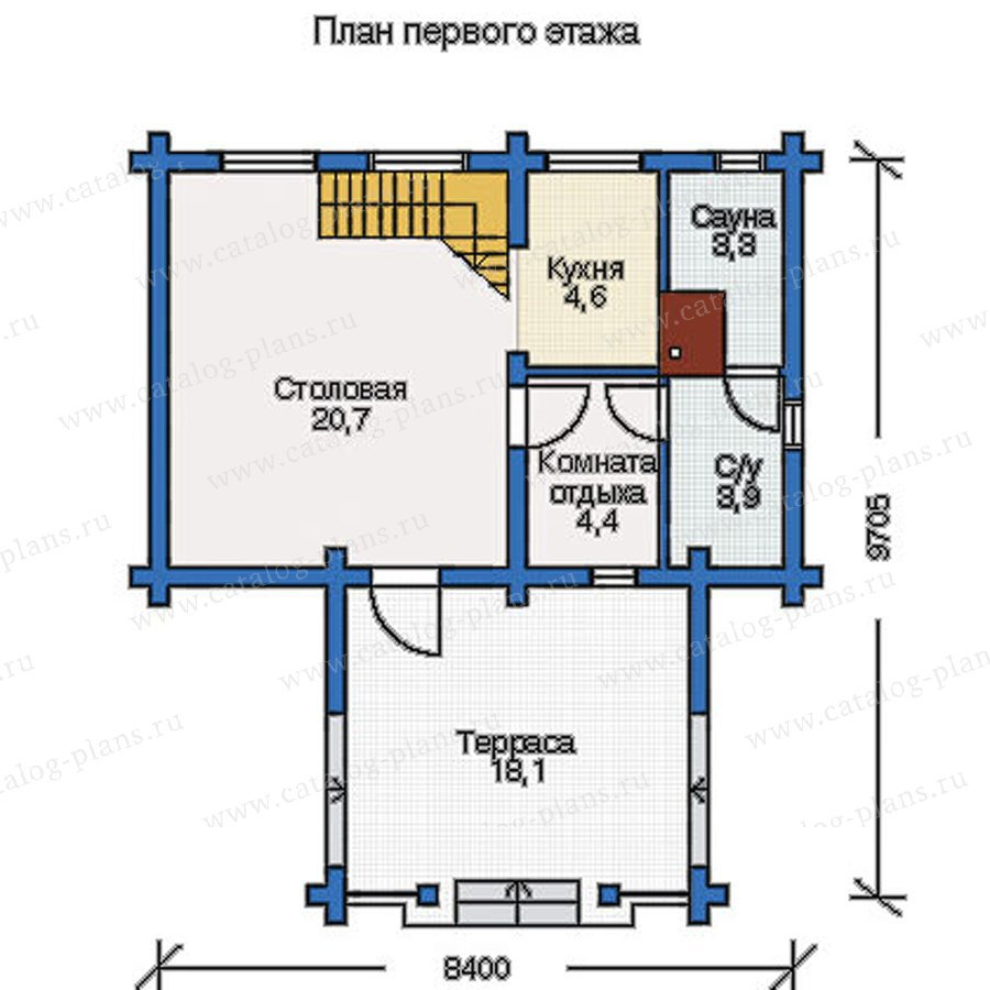 План 1-этажа проекта 10-80