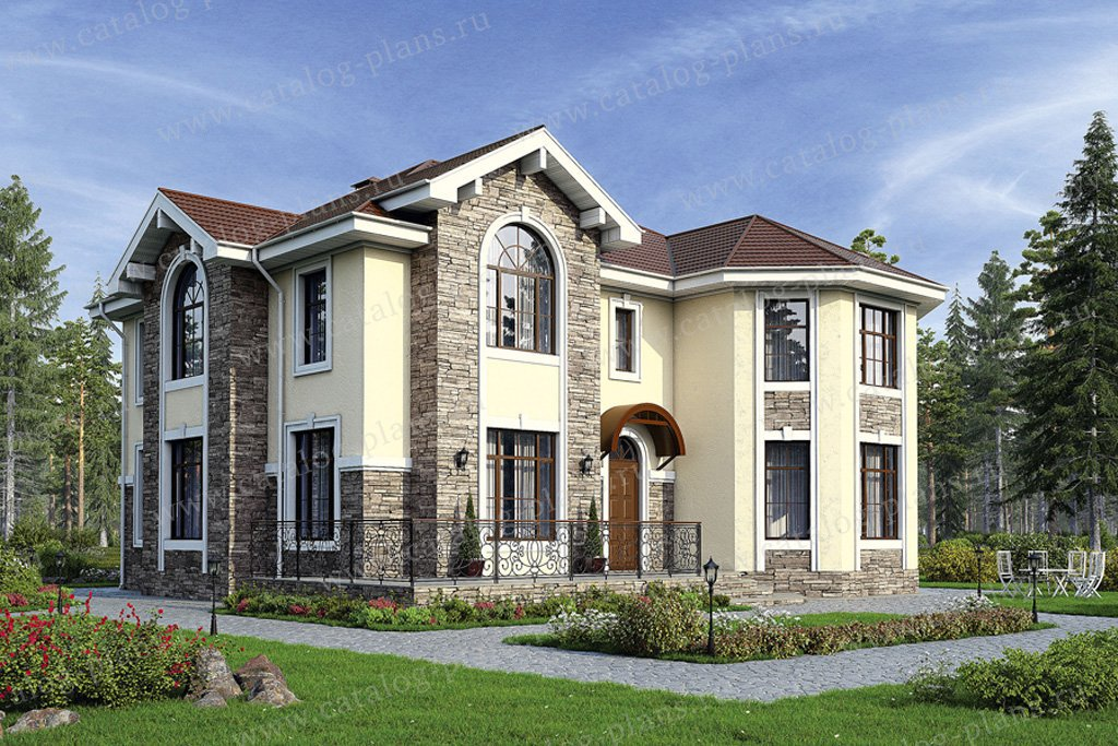 Проект жилой дом #40-11G материал - кирпич, стиль европейский