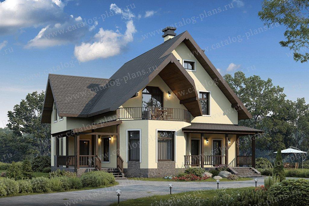 Проект жилой дом #40-05A материал - кирпич, стиль немецкий