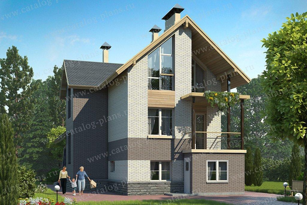 Проект жилой дом #49-27 материал - кирпич, стиль современный