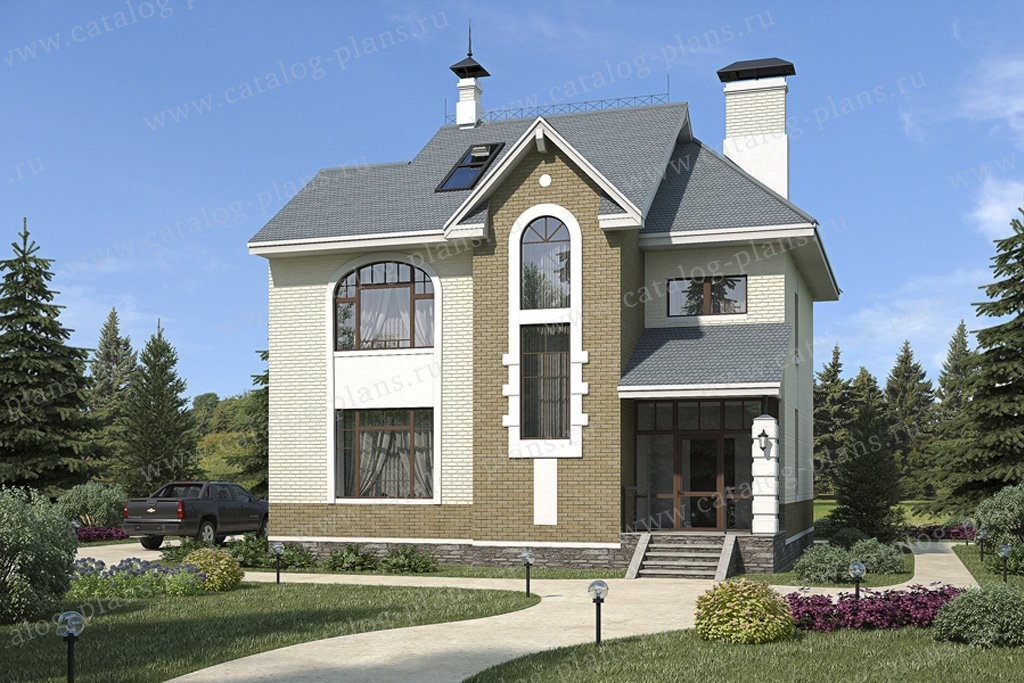Проект жилой дом #49-18 материал - кирпич, стиль американский