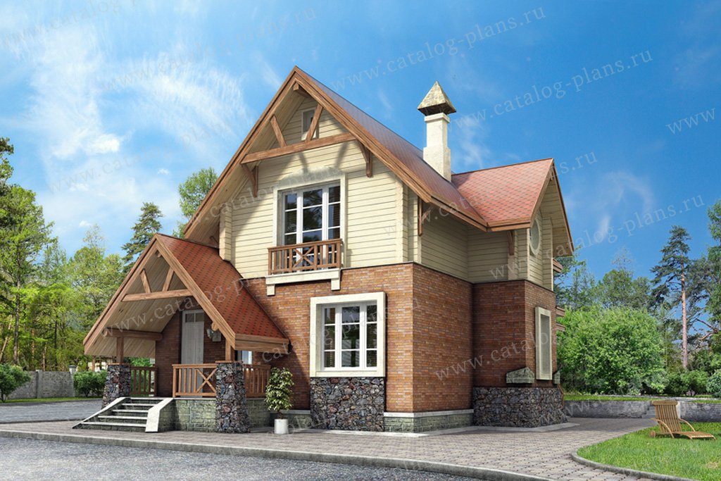 Проект жилой дом #49-20 материал - кирпич, стиль европейский