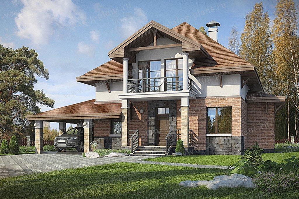 Проект жилой дом #49-37 материал - кирпич, стиль американский