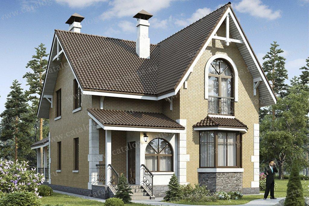 Проект жилой дом #49-38 материал - кирпич, стиль европейский