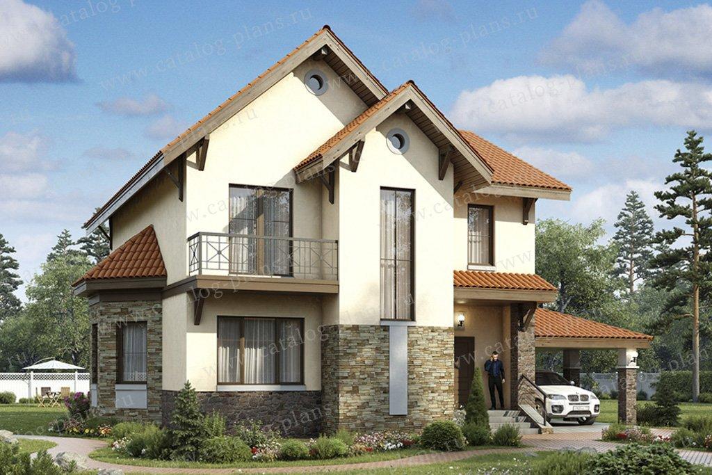 Проект жилой дом #49-36 материал - кирпич, стиль европейский