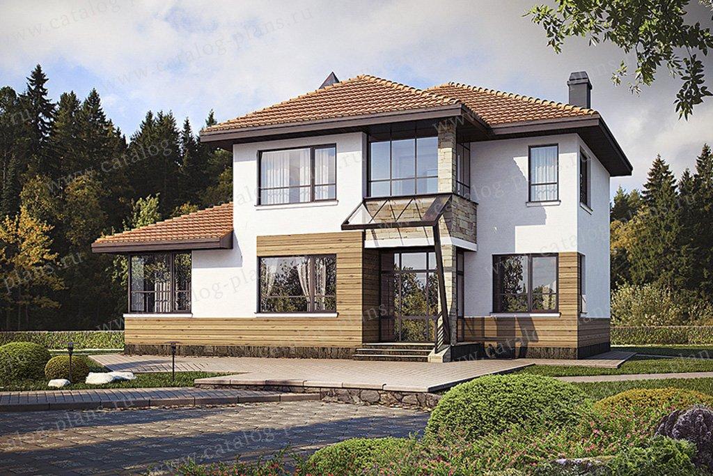 Проект жилой дом #49-35 материал - кирпич, стиль современный