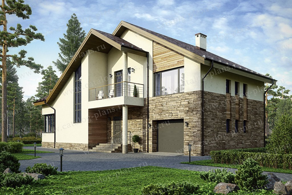 Проект жилой дом #49-76 материал - кирпич, стиль скандинавский