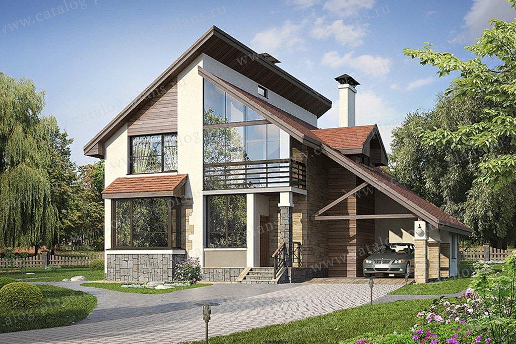 Проект жилой дом #49-44 материал - кирпич, стиль современный