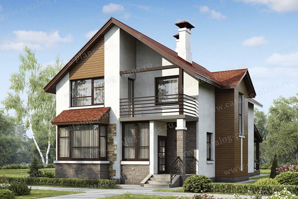 Проект жилой дом #49-42 материал - кирпич, стиль скандинавский