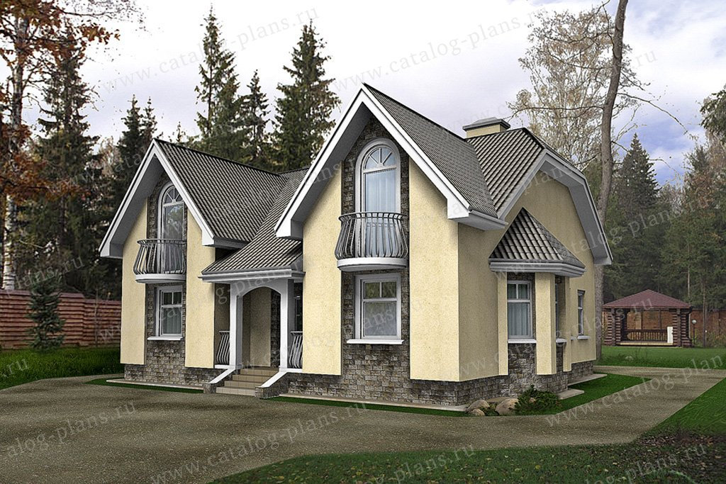 Проект жилой дом #49-84 материал - кирпич, стиль европейский