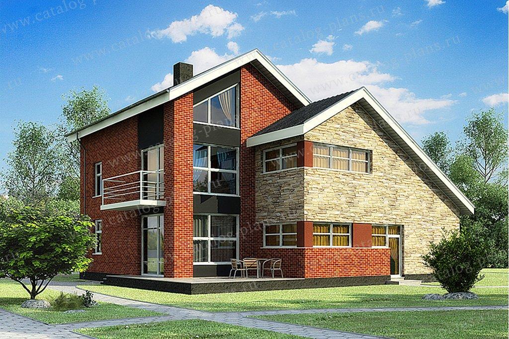Проект жилой дом #49-88 материал - кирпич, стиль современный