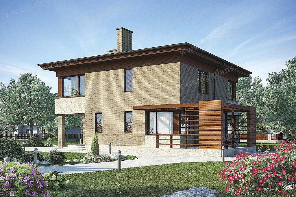 Проект жилой дом #49-92 материал - кирпич, стиль хай-тек
