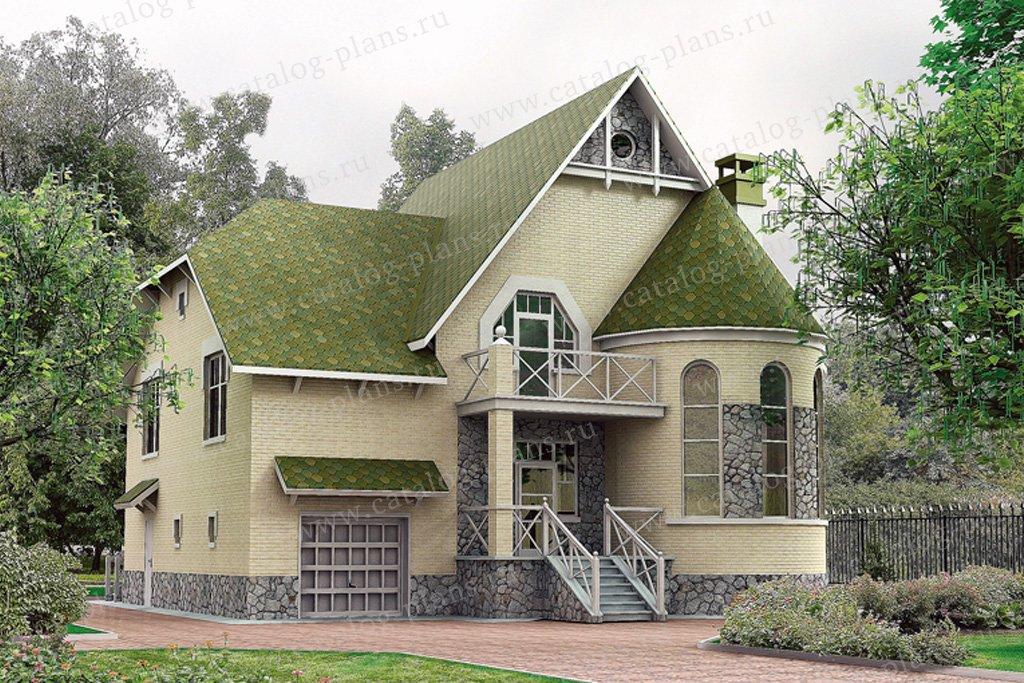 Проект жилой дом #50-66 материал - кирпич, стиль средневековый