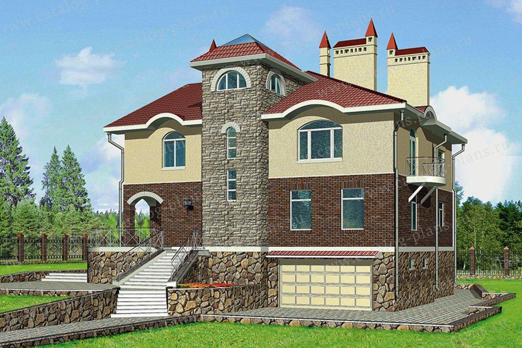 Проект жилой дом #50-23 материал - газобетон, стиль средневековый