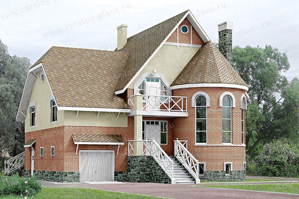 Проект жилой дом #50-75 материал - газобетон, стиль средневековый