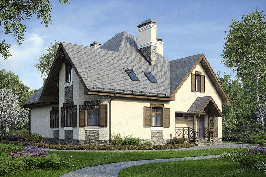 Проект жилой дом #50-83 материал - газобетон, стиль европейский