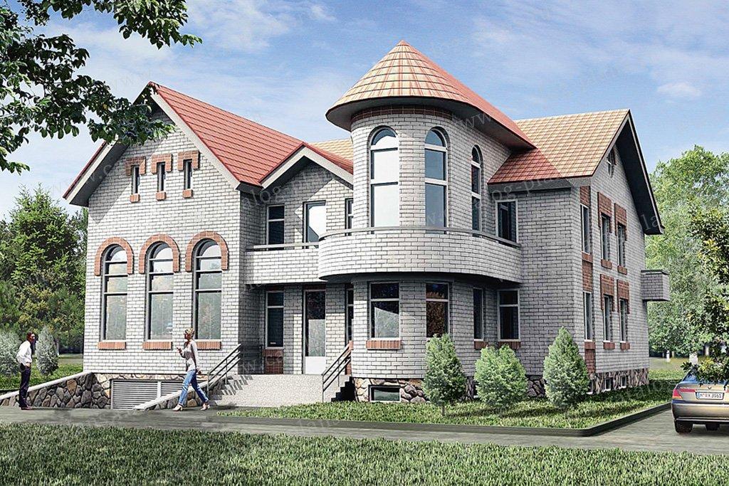 Проект жилой дом #50-98 материал - кирпич, стиль средневековый