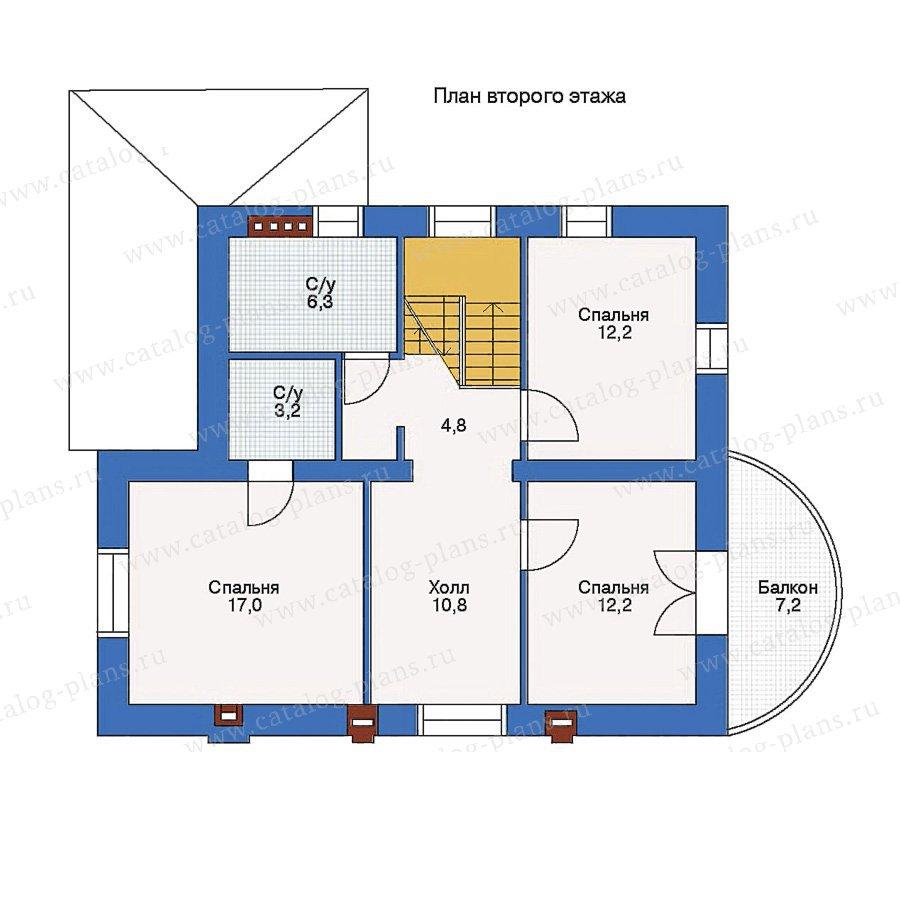 Проект второго этажа частного дома 10х8