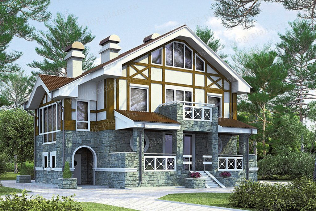 Проект жилой дом #51-95 материал - газобетон, стиль фахверк