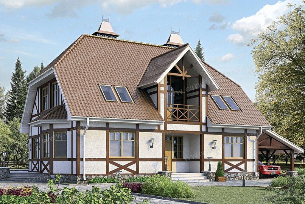 Проект жилой дом #51-75 материал - газобетон, стиль фахверк