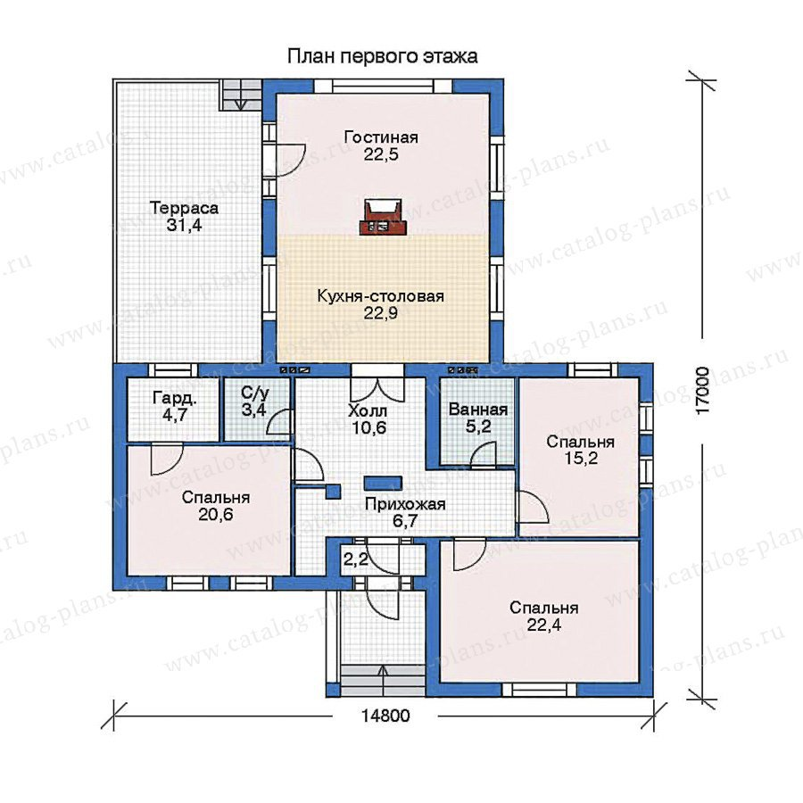 План 1-этажа проекта 52-67