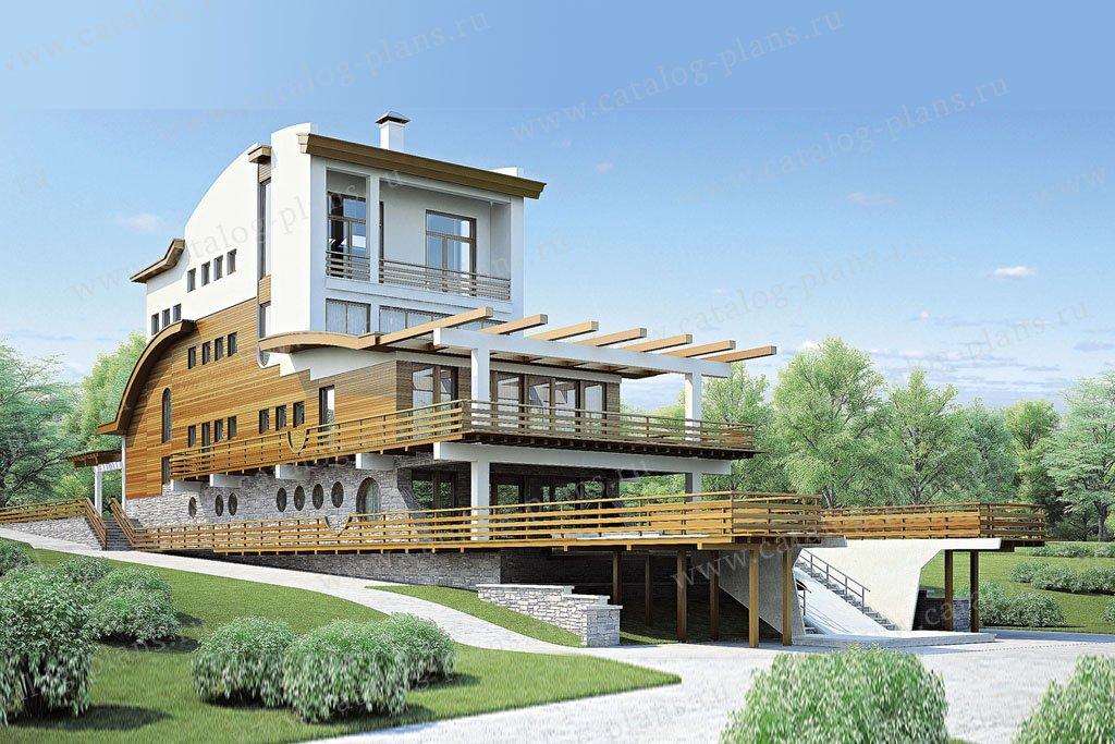 Проект жилой дом #53-72 материал - газобетон, стиль хай-тек
