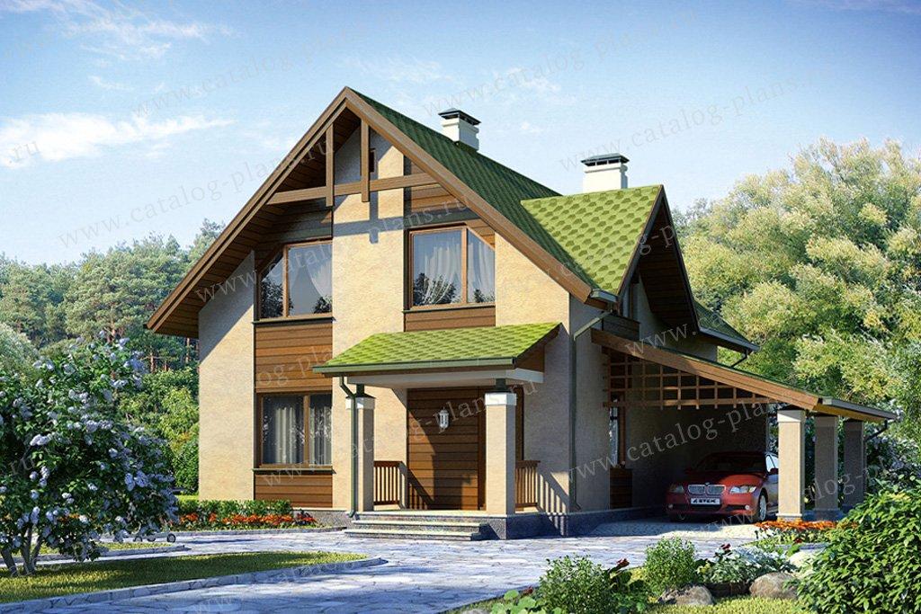 Проект жилой дом #53-95 материал - газобетон, стиль скандинавский