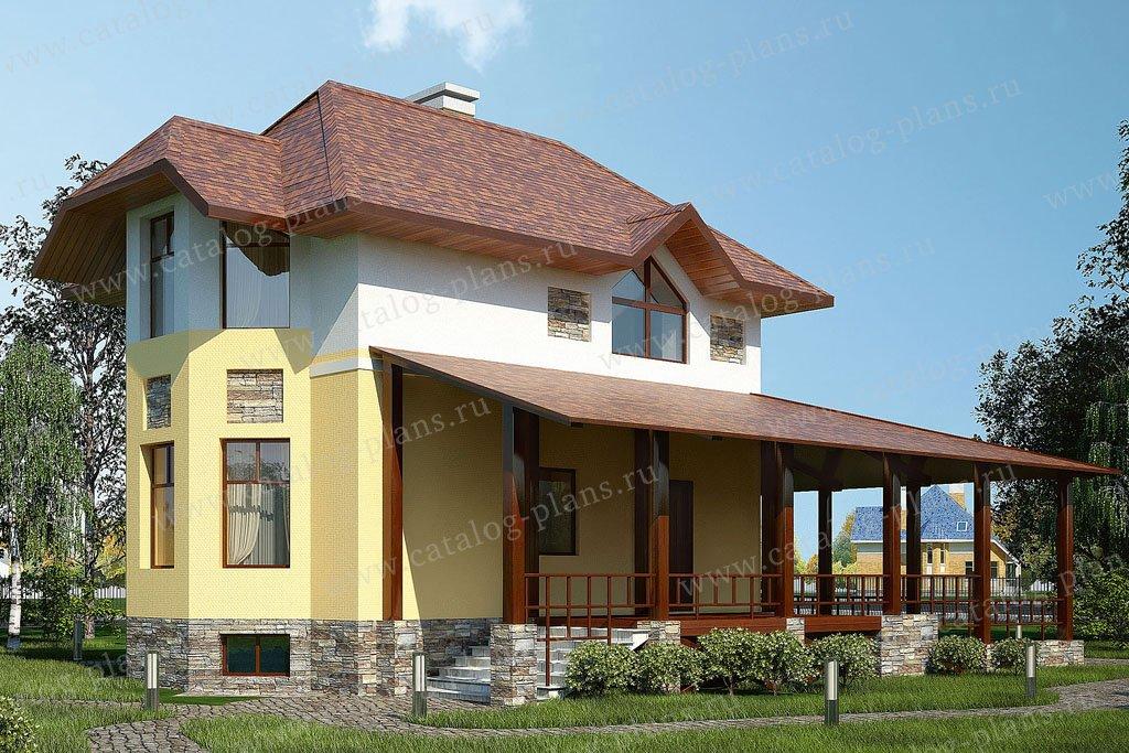 Проект жилой дом #53-70 материал - газобетон, стиль европейский