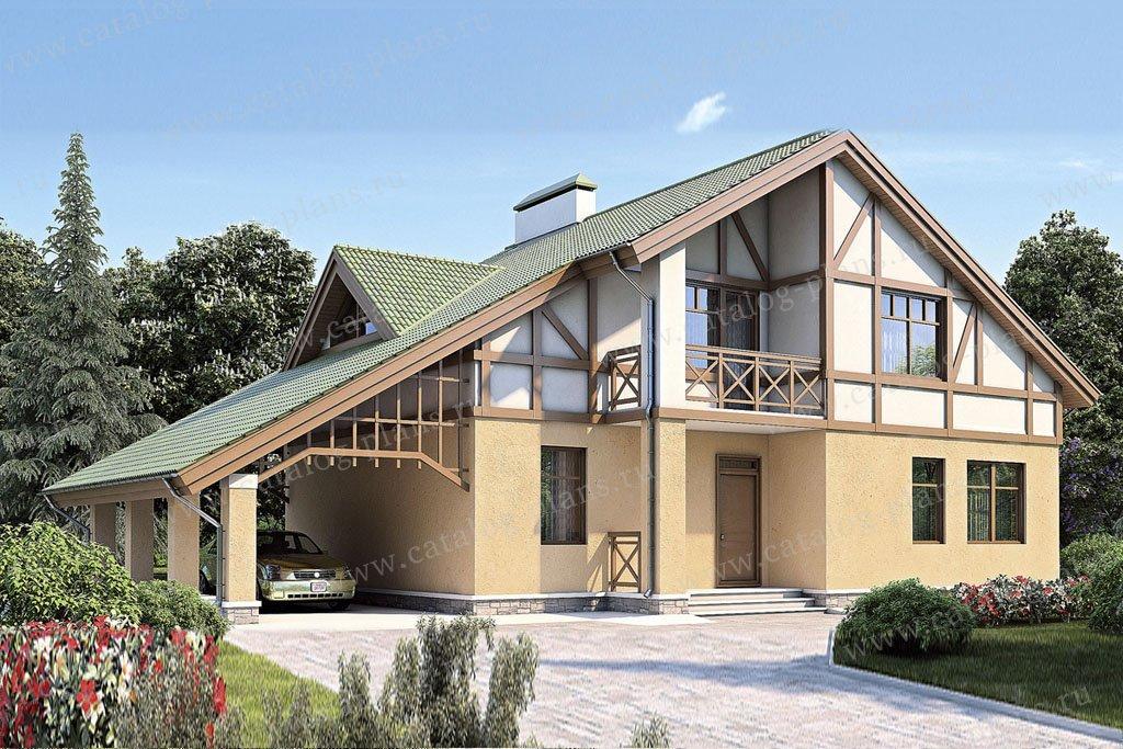 Проект жилой дом #53-04 материал - газобетон, стиль фахверк
