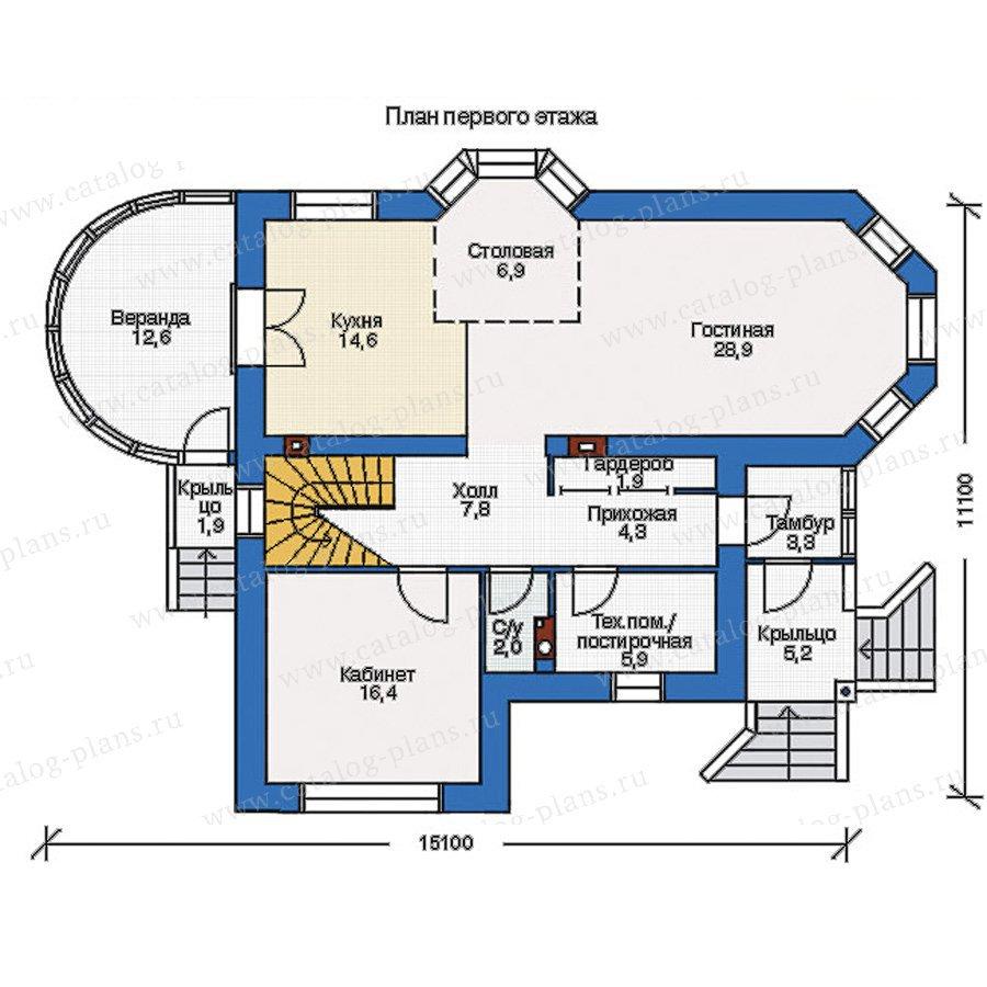 План 1-этажа проекта 54-08