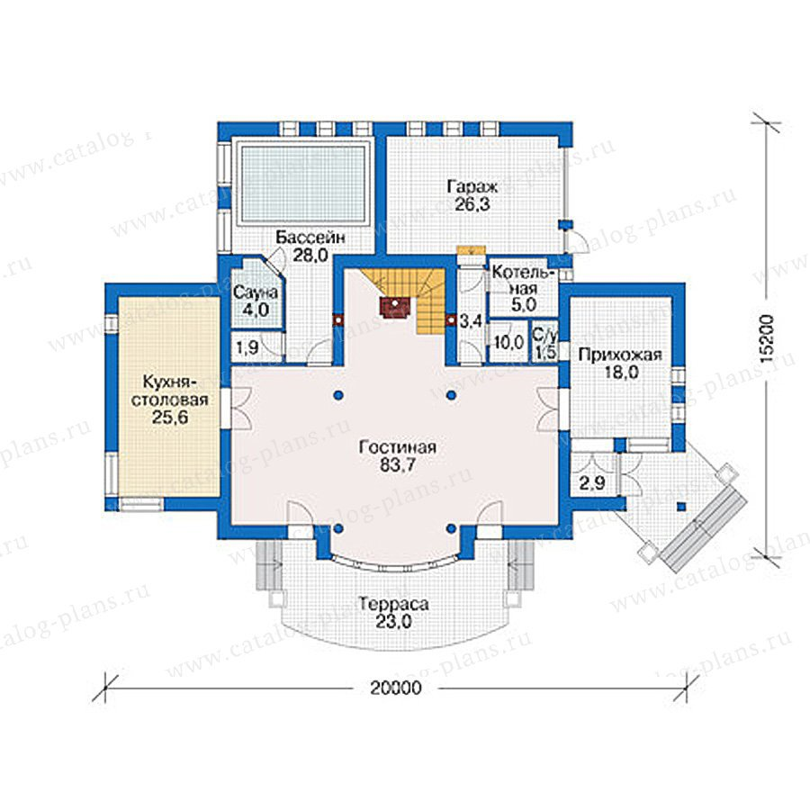 План 1-этажа проекта 55-89
