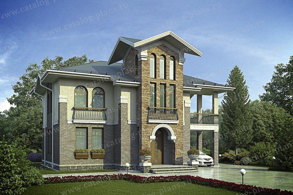 Проект жилой дом #55-87 материал - газобетон, стиль средиземный