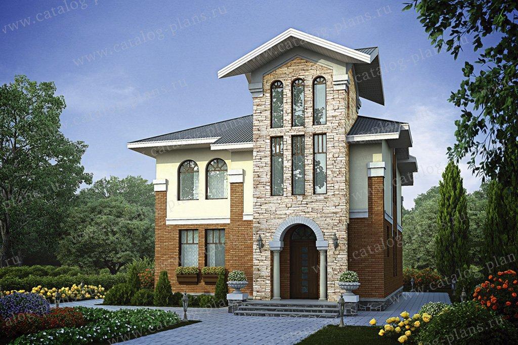 Проект жилой дом #55-88 материал - газобетон, стиль средиземный