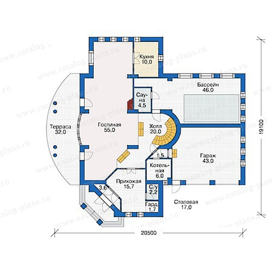 План 1-этажа проекта 55-48