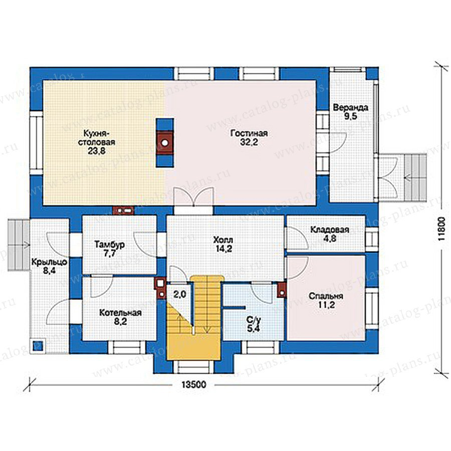 План 1-этажа проекта 56-19