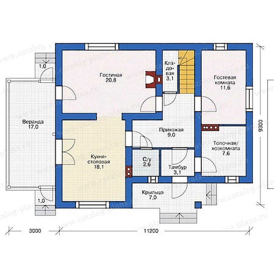 План 1-этажа проекта 55-50