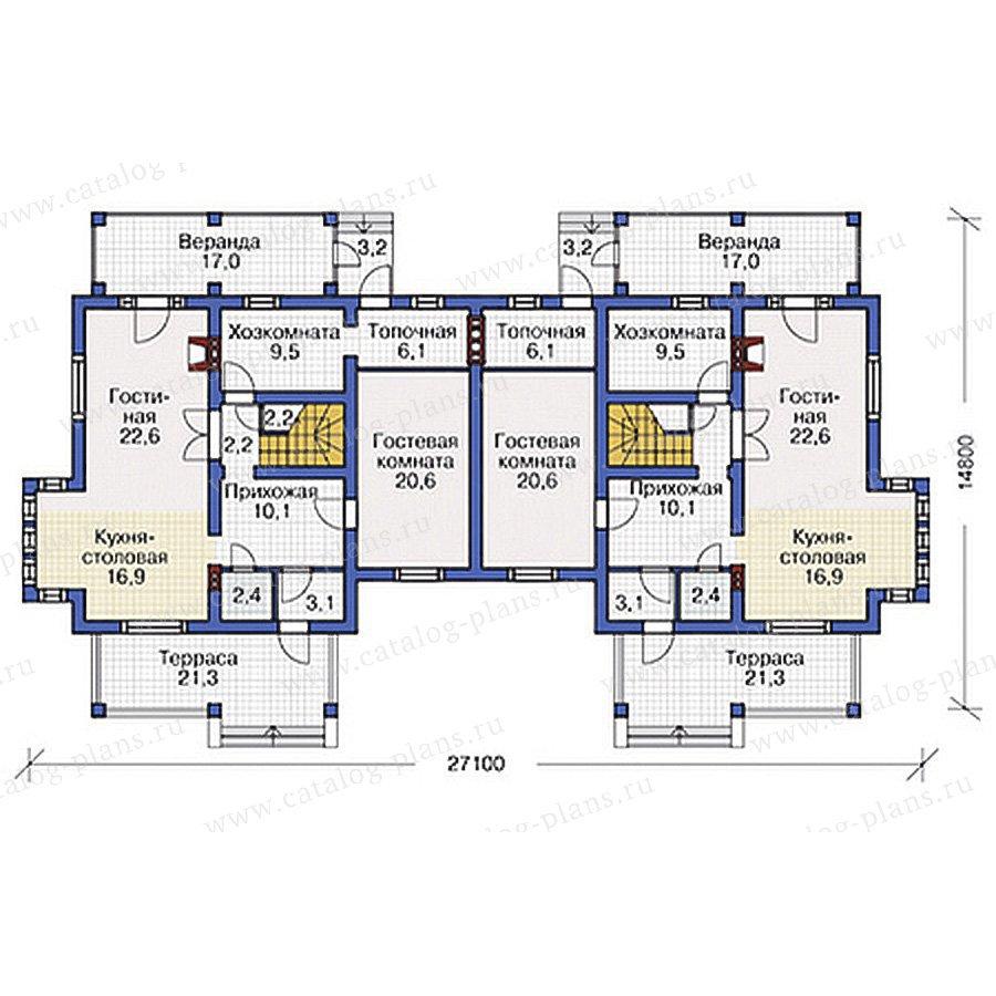 План 1-этажа проекта 54-73
