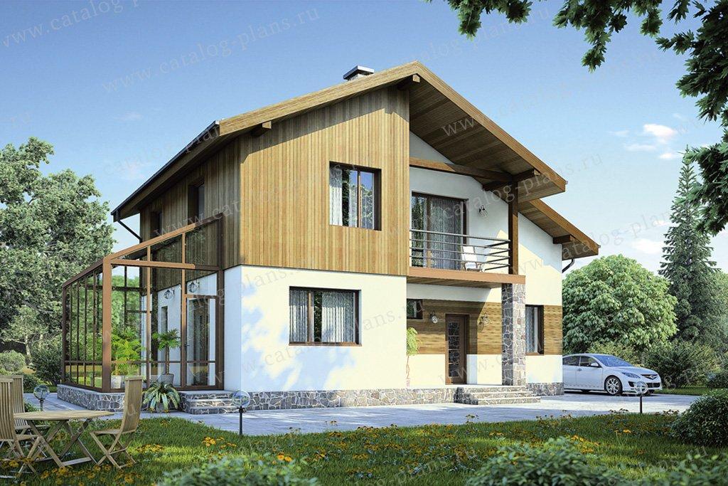Проект жилой дом #55-50 материал - газобетон, стиль современный