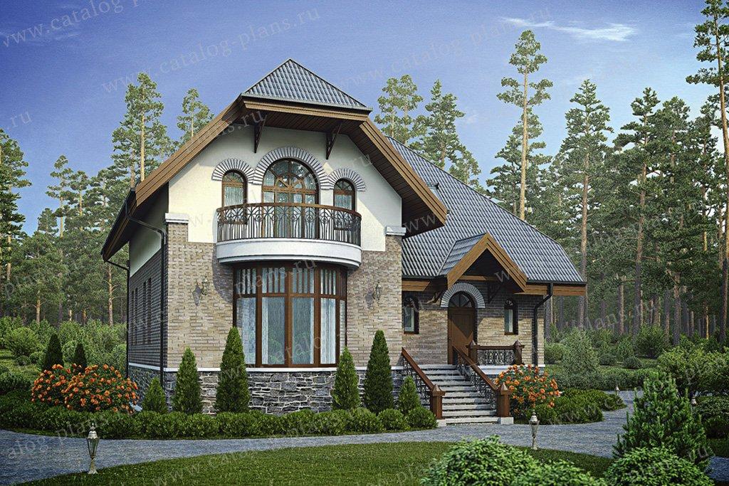 Проект жилой дом #55-90 материал - газобетон, стиль европейский