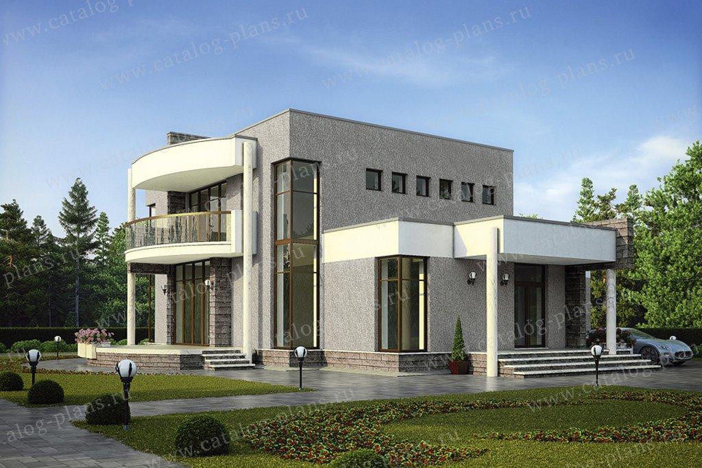 Проект жилой дом #56-51 материал - газобетон, стиль хай-тек