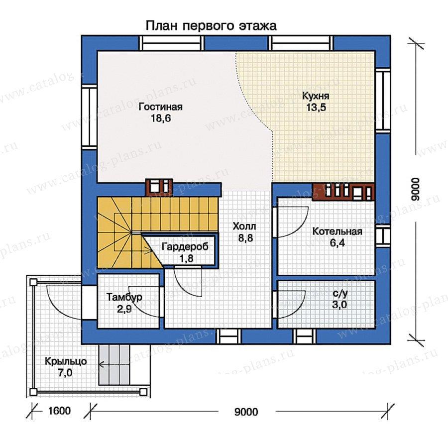 План 1-этажа проекта 57-08