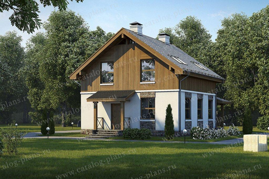 Проект жилой дом #57-17K материал - кирпич, стиль скандинавский