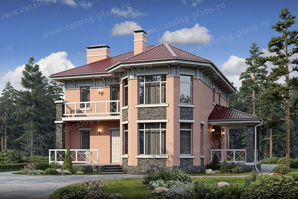 Проект европейского дома 13 на 13 dt0077k из поризованного к.