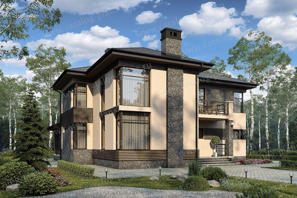 Проект жилой дом #57-21 материал - газобетон, стиль райт